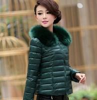 Free Shipping 2014 new women's winter fashion luxury fur collar short paragraph Slim Down Down padded jacket women