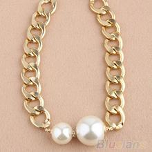 Fashion Sexy Chain Big Pearls Golden Choker Statement Necklace 06YR