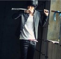 2014 Free Shipping Hot Sale Pure Long Sleeve Mandarin Collar Coat Black L/XL/XXL
