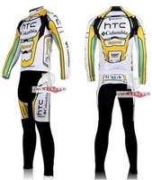 Green or white HTC highroad long sleeve cycling  Jersey and Pants Bike Clothing Jackets tights