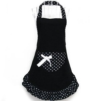 Cute Fashion Girls Home and Work Wear Red Pink Black Aprons for Women Kitchen Restaurant Apron