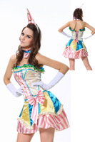 ML5376 Free Shipping Sexy Fancy Colorful Strapless Dress Circus Candy Color Women Adult Halloween Clown Costume