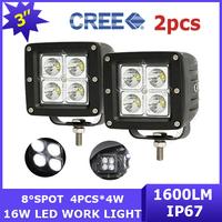 2x New 8 degree Spot Beam Car Cree LED Work Light 16W 4WD Offroad lamp ATV SUV 12V/24V 1600lm 4x4 Pickup Driving Wagon AWD Van