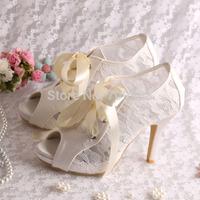 (More Colors) Custom Handmade High Heel Bridal Shoes Wedding Peep Toes with Ribbon Free Shipping