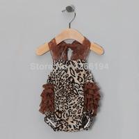 2014 Toddler Boy Brown Leopard Lace Straps Bubble Bodysuit Halter Bubbler Suit Free Shipping