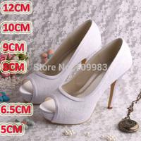 Brand Magic Custom Handmade Women White Bridal Shoes Open Toe with Platform Size 9 Free Shipping