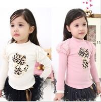 Spring Fall Children T Shirts  Pure Cotton Leopard Hot Drilling Cat Girl Long Sleeve T Shirt  Puff Sleeve  Baby Tshirt QZ565