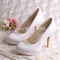 (13 Colors) Custom Handmade High Heel White Satin Wedding Shoes Crystal Closed Toe Free Shipping