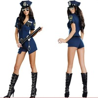 Jumpsuit jiaoguan policewoman Cosplay sexy clothes stage loaded steel tube dance wear long sleeved DS Club show.