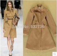 Free shipping 2014 Winter New Arrival Ladies wool & Blends coat women woolen jacket  overcoat  camel & black Plus size S M L XL