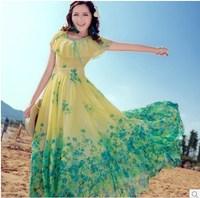 2014 spring and summer new arrival beach dress slim print chiffon one-piece dress bohemia dress full