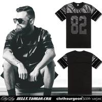 Clothsurgeon original design gvc  2014 new design patchwork digital print zipper round collar leather short-sleeve T-shirt tee