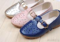 Child leather 2014 autumn female child princess shoes Moccasins fashion cutout girls shoes single shoes