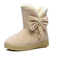 women winter snow boots, warm flat heel solid bowknot snow boots, Ankle Platform Mid-calf shoes size 36-40,free shipping,L0858