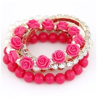 Wholesale - 7 colors choice multiplayers(5 layers) charms bracelets flower stretch bracelet beaded bracelet