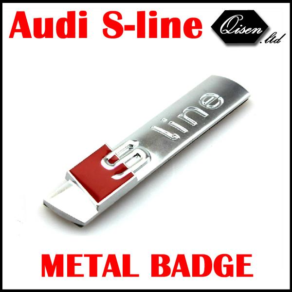 2 X METAL Sline S LINE SIDE FENDER Badge Chrome Silver for S3 S4 S5 S6 S8 A1 A3 A4 A5 A6 A7 TT RS4 GENUINE ALUMINIUM #SO058(China (Mainland))