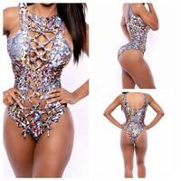Women Sexy Best Bathing Suit One Piece Swimwear Bust Hole Print Bandage Swimsuit Lady's Beach Wear YI7046