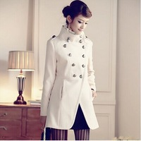 2014 Women's Han edition retro military uniform double-breasted cultivate one's morality show thin wool coat