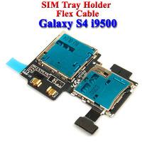 New SD Card Reader SIM Tray Holder Flex Cable For Samsung Galaxy S4 S IV i9500 GT-i9500 10 pcs/lot