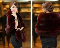 2014 winter women coat Fox fur coat shawl collar Women Mink Faux-Fur Coat new fur coat colete pele women clothing