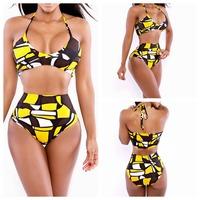 2014 New Summer Women Push Up Swimsuit Sexy Bra Bikini Strap Halter Cartoon Bodycon Swimwear M L Plus Size YI7020