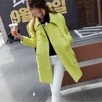 Free Shipping winter new women's korean fashion neon cashmere wool woolen long coat double breasted overcoat abrigos S M L XL
