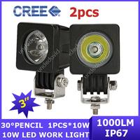 2x Cree LED Driving Light 4WD 1000lm 12V/24V Van Square Wagon Pickup off-road Work Light 10W 30 degree ATV AWD UTV 4x4 Truck SUV