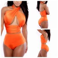 2014 Fashion Orange Woman Sexy Bikini Set Swimsuits Sport Cross Strap Tops Shorts Bottom Swimwear Beachwear Drop Ship YI7068