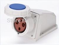 waterproof IP67 wall socket industrial socket T-1332B 3 PIN 63A 230V