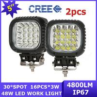 2x ATV 4WD car Cree led Work Light AWD SUV Camper off-road 12V/24V pick-up UTV 48W LED Driving Lamp Spot Beam 4800lm 4x4