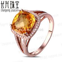 14k Rose Gold 5.51ct Natural Genuine Citrine & 0.4ct Diamond Engagement Ring