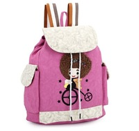 New Arrival High Quality 4 Candy Colors Cute Cartoon Girl String Casual Backpacks,Children School Book Bag/Travel Bags