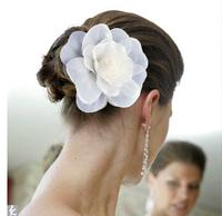 """10PX 6"""" Blooming Silky Cream white chiffon Flower Hair Clip Hair Pin wedding Bridal Bridesmaid Party Corsage Choochie"""