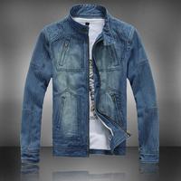 Spring tide collar Slim Korean men's casual denim clothing denim jacket denim jeans jacket Gua male