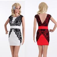 Party Dresses Promotion Natural Batik Lace Summer Dress 2014 New Fashion Mini Bodycon Sexy Club Plus Size Bandage Elegant M/l/xl