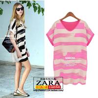 Fashion women's 2014 summer fresh personality color block stripe one-piece dress
