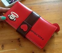 Red monkey wallet fashion purse lady burse girl notecase billfold handbag I30008-01