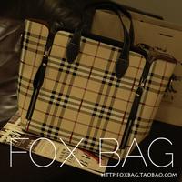 Fashion women's handbag 2014 check bag big shoulder bag white collar bag