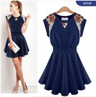 Original single ladies summer new European style lace stitching sleeveless knit dress  Women dress  NZ427