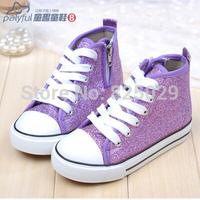 Child canvas shoes 2014 paillette leather male female child canvas shoes single shoes baby skateboarding shoes