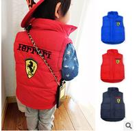 children's clothing classic cotton fleece vest cotton vest baby hoody vest three colors size 80-120cm baby winter vest