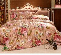 100% seamless  4 pcs 100% pure Silk Bedding Set  printed  silk satin flat sheet and pillowcases ,duvet cover
