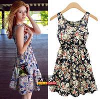 Women's summer women's rose print o-neck slim fashion one-piece dress