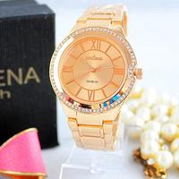 New Fashion Luxury Brand Women Dress Watch Rose Gold Geneva Steel Ladies roman Clock montre homme relogios feminino fashions 014