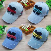HT-1257 free shipping  M letter style  Jean boys/girls& KIDS 'baseball cap/children'caps kids' snapbacks Spring caps