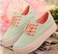 Free shipping 2014 summer low tide thick canvas shoes women's shoes breathable flat candy color sandals