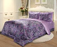 Free Shipping 4 pcs mulberry Silk Bedding Set  printed  silk satin flat sheet and pillowcases ,duvet cover