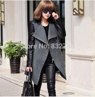 Winter Woman Casual Long sections leather Patchwork Wool & Blends Coat Women Woolen Overcoat big size XL XXL XXXL