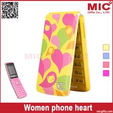 2014 Flip unlocked Dual SIM card women senior girls lady cute cell mobile music phone lovely heart P237