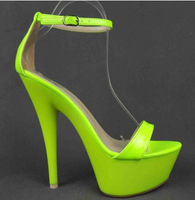 Free shipping 2014 New arrived classic &sexy  super high thin  heel platforms  women candy sandals party shoes T-stage shoes